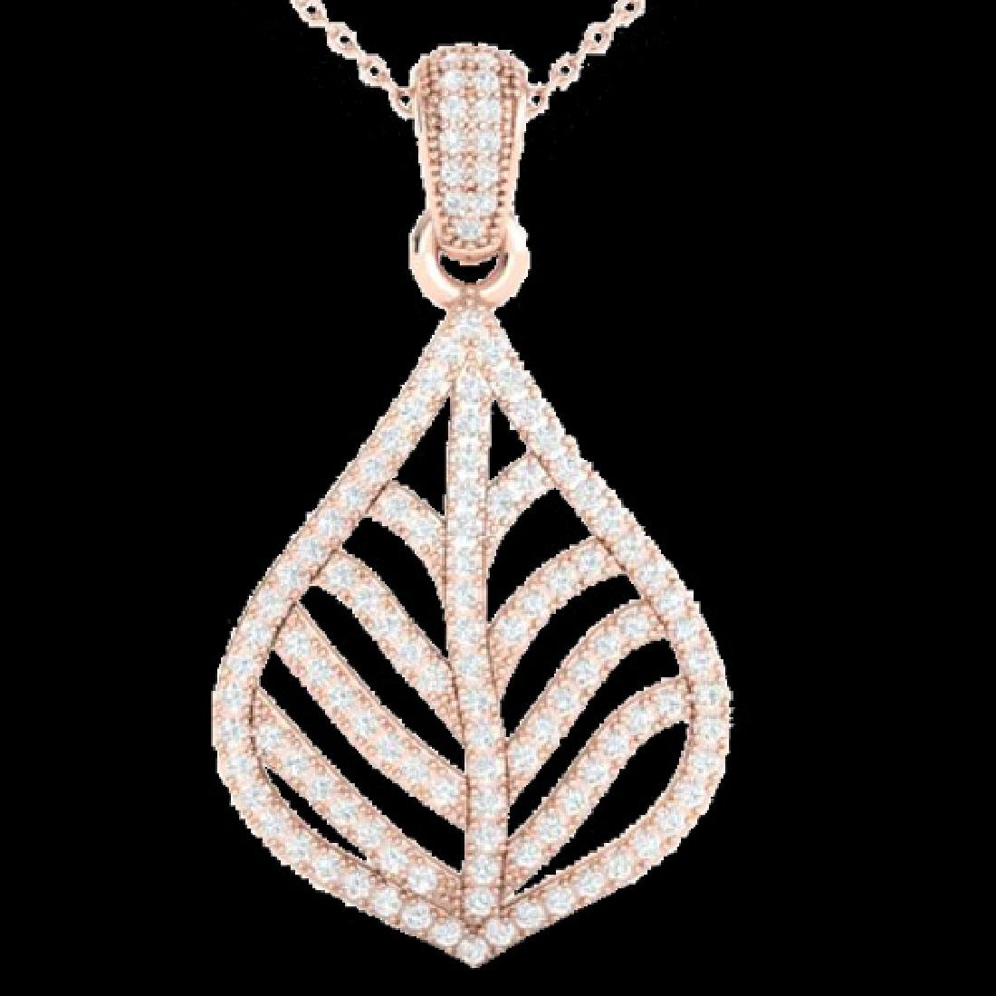 1.25 CTW Micro Pave VS/SI Diamond Necklace Designer 14K