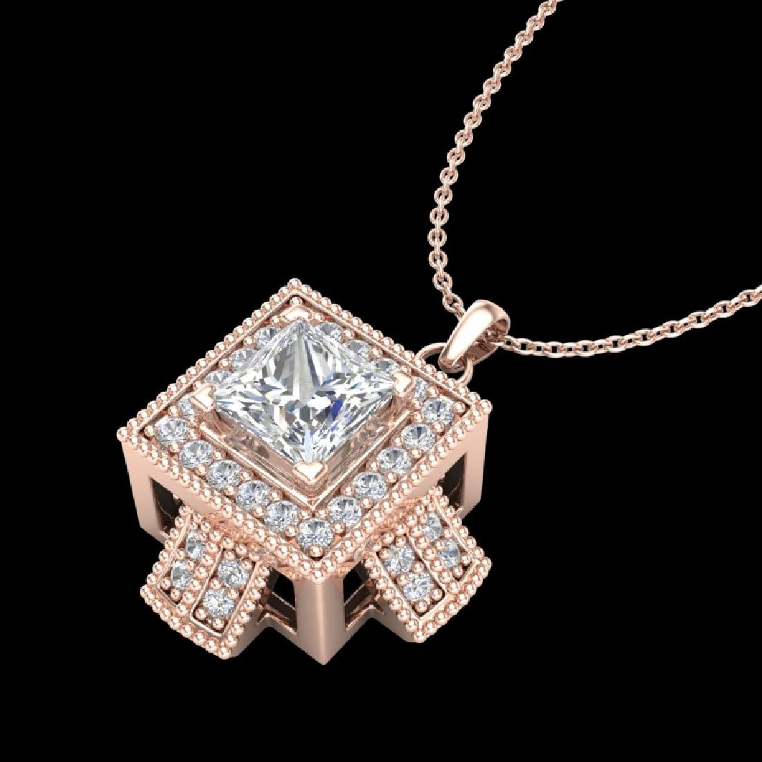 0.84 CTW Princess VS/SI Diamond Micro Pave Necklace 18K