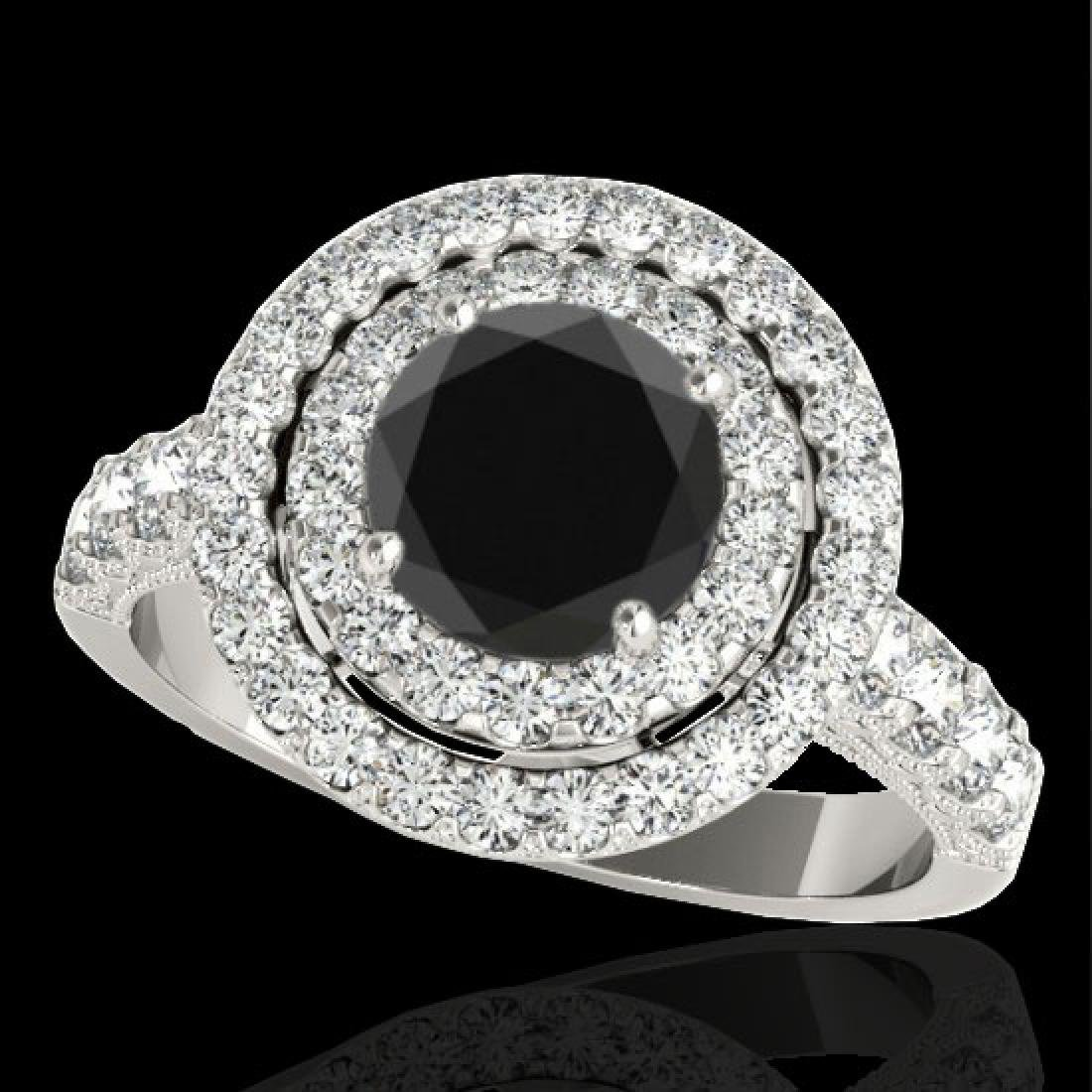3 CTW Certified VS Black Diamond Solitaire Halo Ring