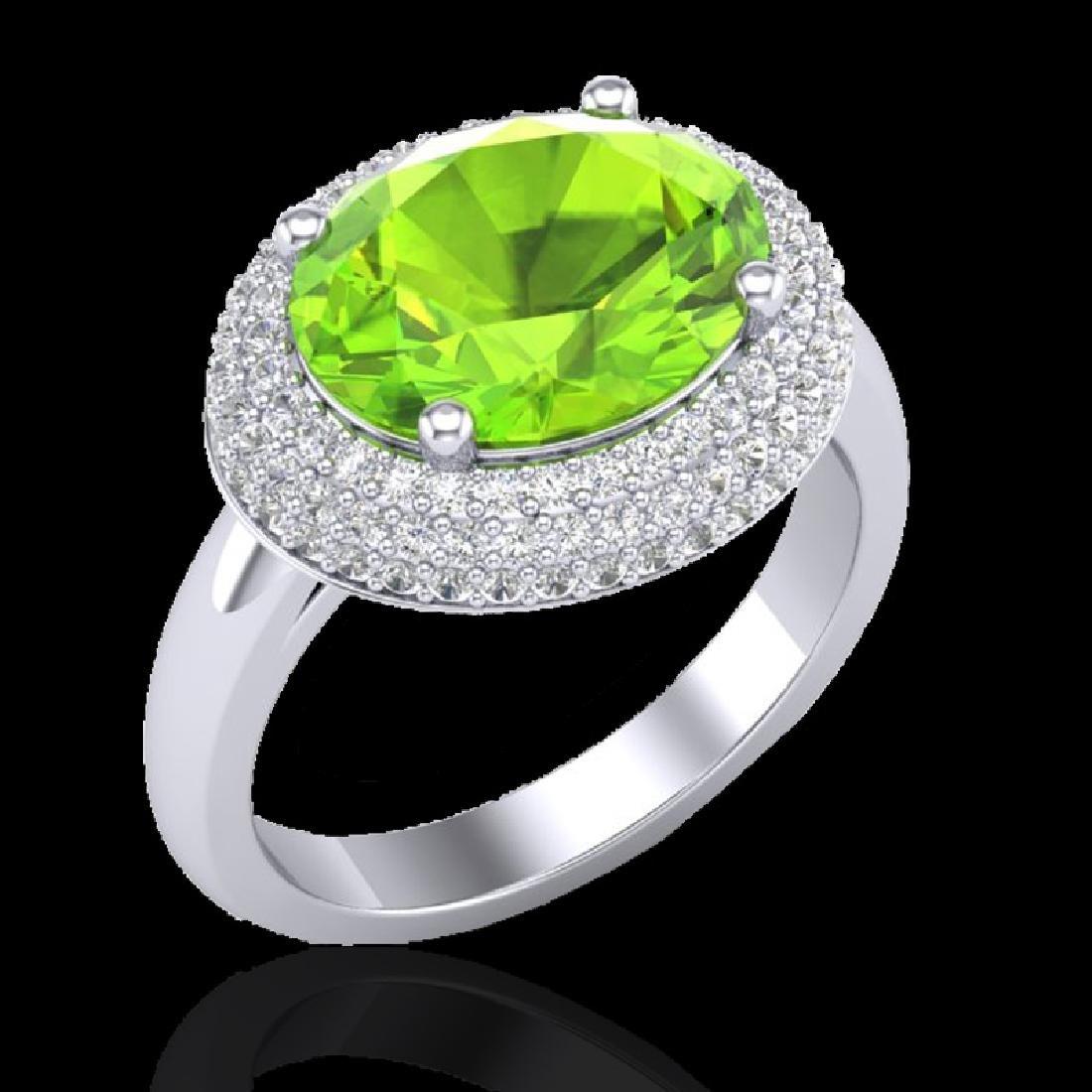 4.50 CTW Peridot & Micro Pave VS/SI Diamond Ring 18K