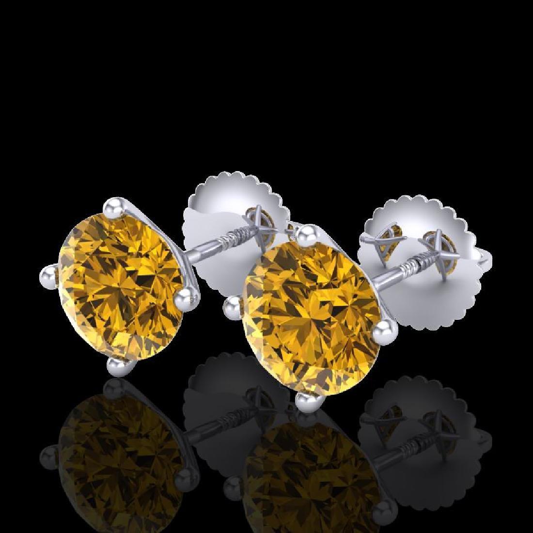 2.5 CTW Intense Fancy Yellow Diamond Art Deco Stud
