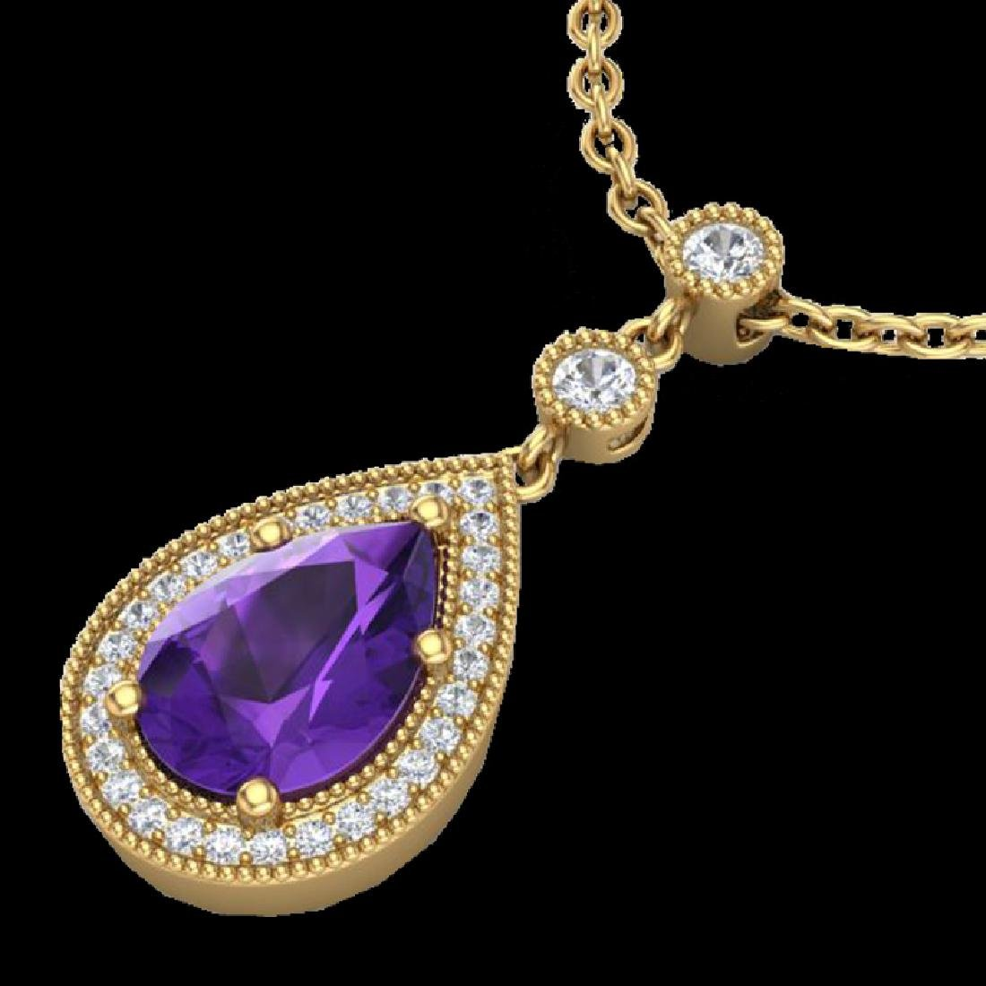 2.25 CTW Amethyst & Micro Pave VS/SI Diamond Necklace