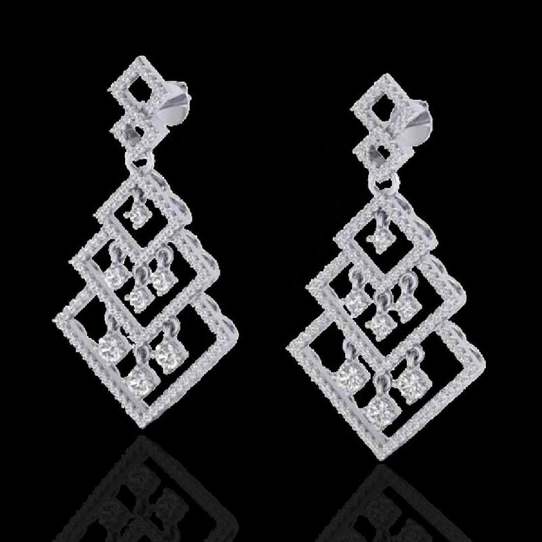 3 CTW Micro Pave VS/SI Diamond Earrings Dangling