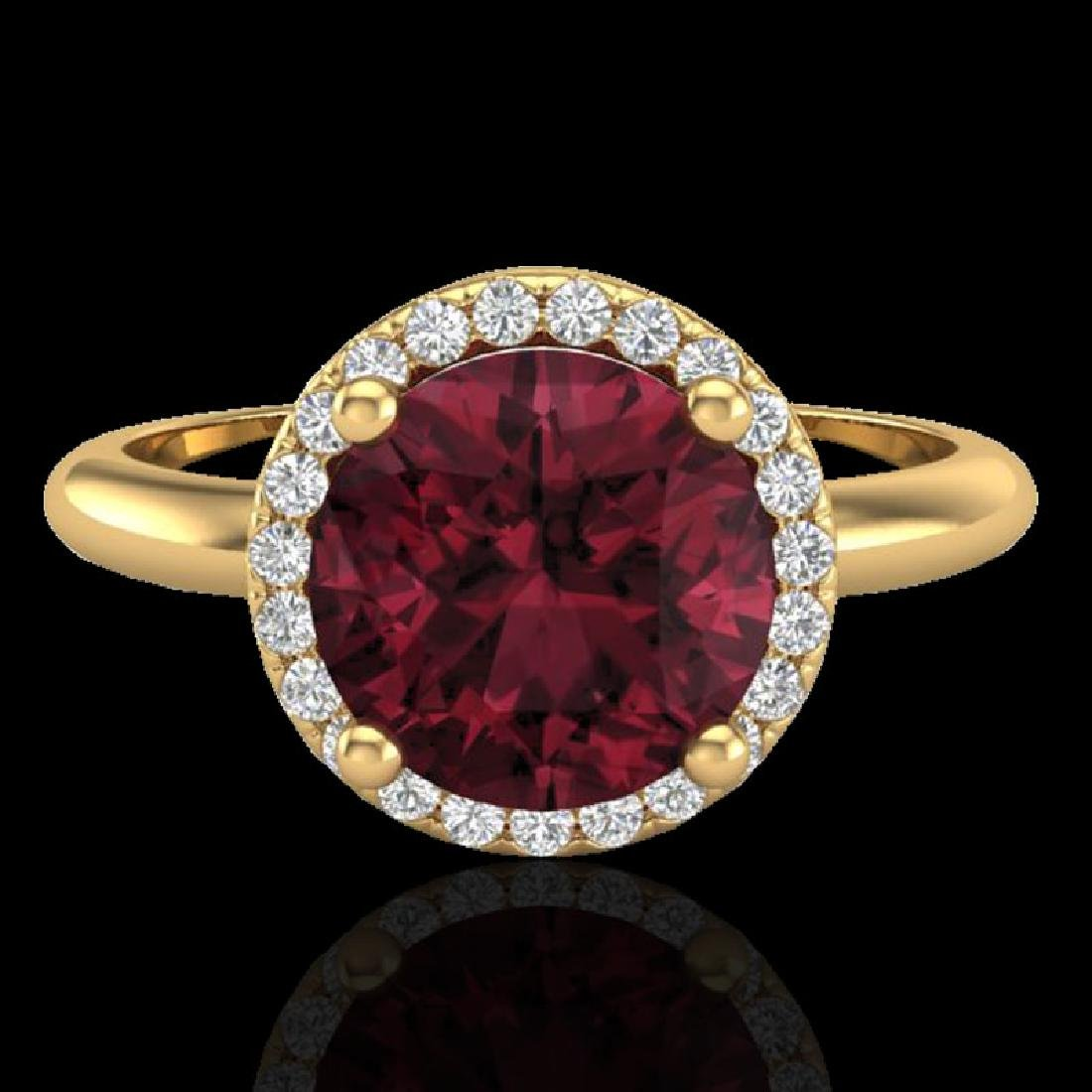 2.70 CTW Garnet & Micro Pave VS/SI Diamond Ring