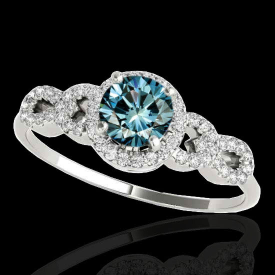 1.33 CTW SI Certified Fancy Blue Diamond Solitaire Ring