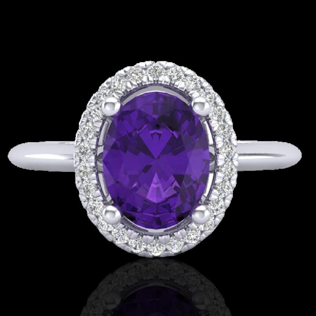 1.75 CTW Amethyst & Micro VS/SI Diamond Ring Solitaire