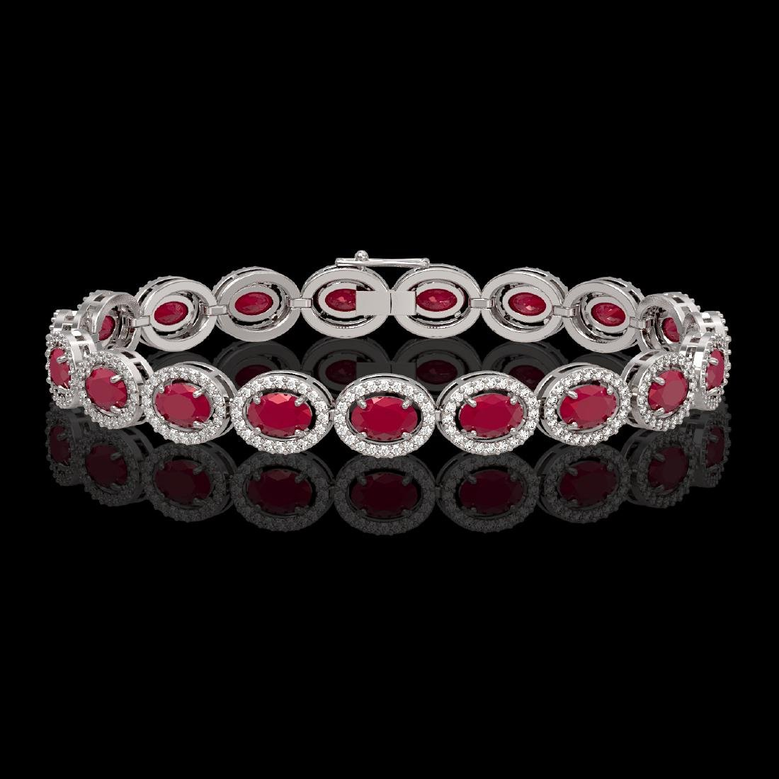 15.2 CTW Ruby & Diamond Halo Bracelet 10K White Gold