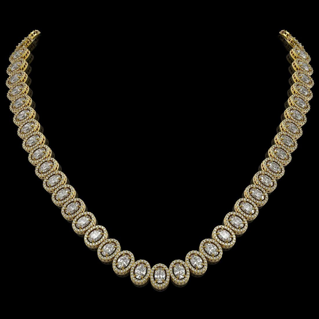 34.72 CTW Oval Diamond Designer Necklace 18K Yellow