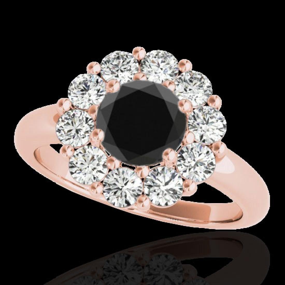 2.85 CTW Certified VS Black Diamond Solitaire Halo Ring