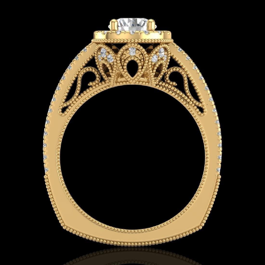 1.55 CTW VS/SI Diamond Solitaire Art Deco Ring 18K
