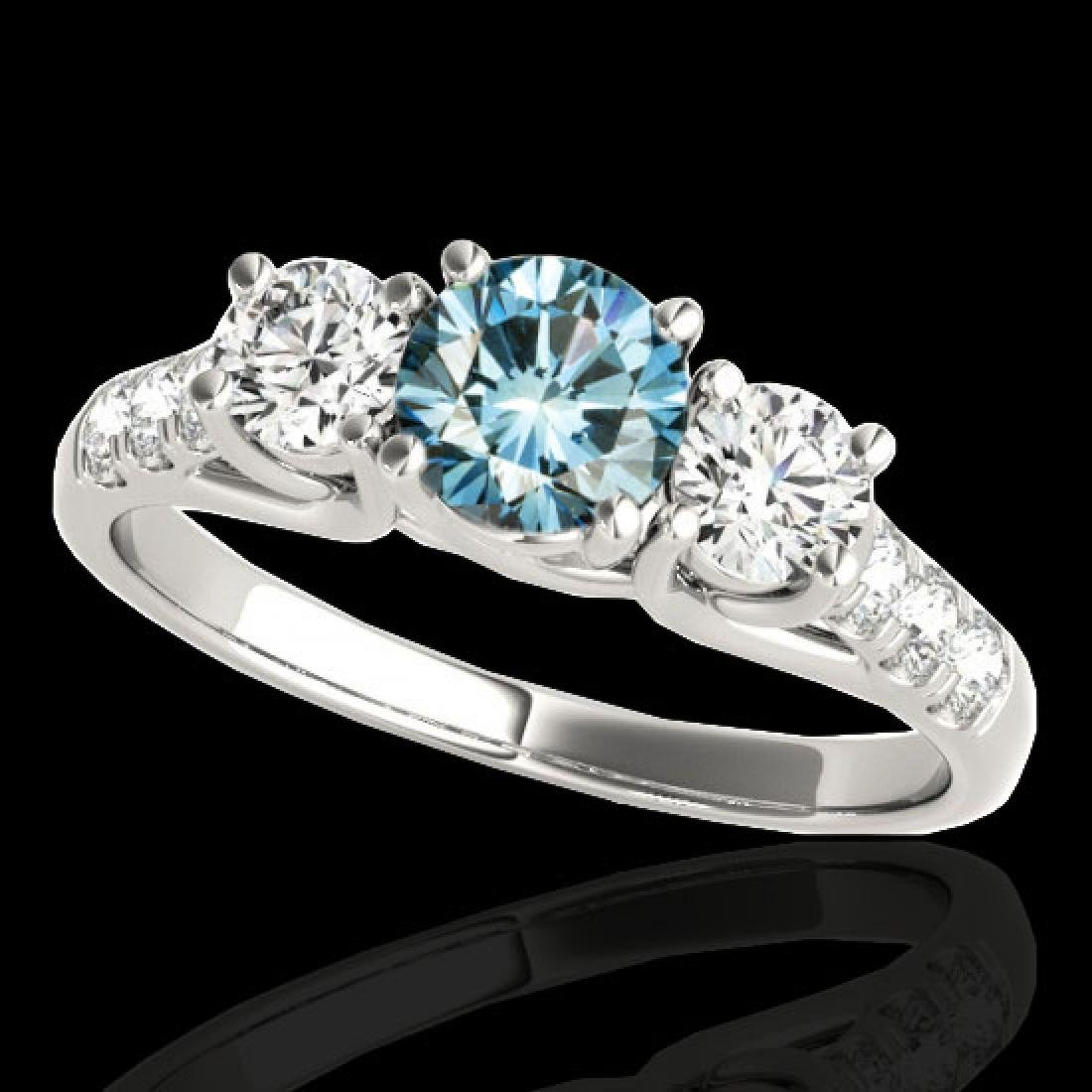 3.25 CTW SI Certified Fancy Blue Diamond 3 Stone Ring