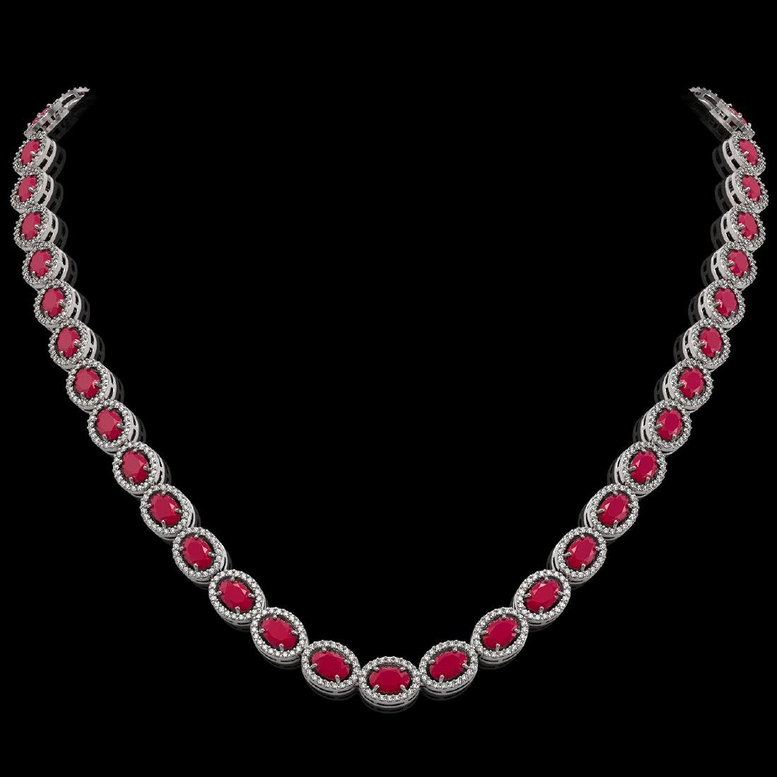 34.11 CTW Ruby & Diamond Halo Necklace 10K White Gold