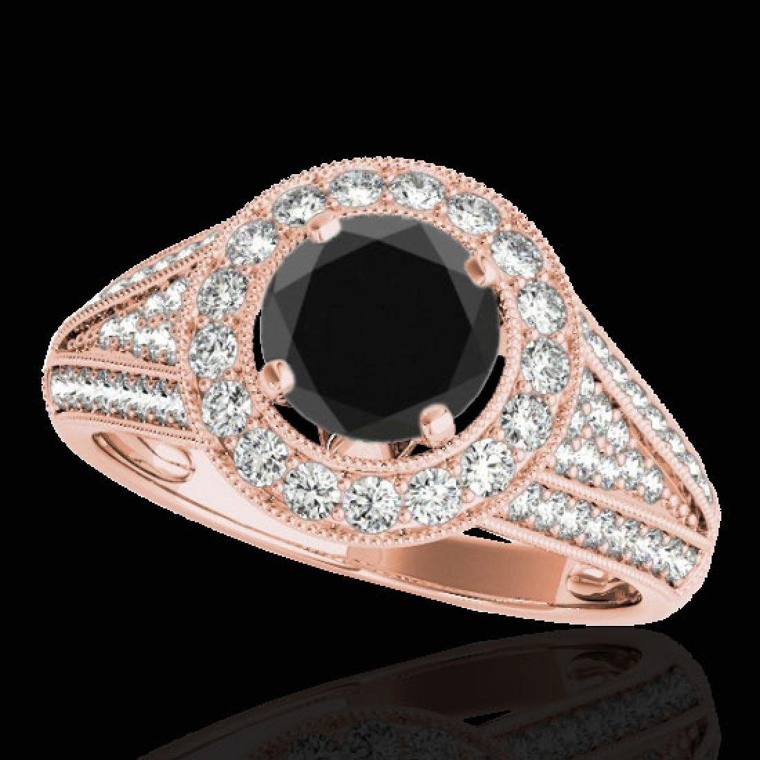 2.17 CTW Certified VS Black Diamond Solitaire Halo Ring