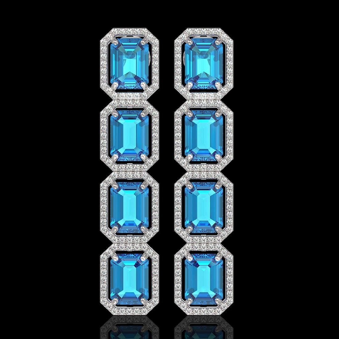 18.99 CTW Swiss Topaz & Diamond Halo Earrings 10K White