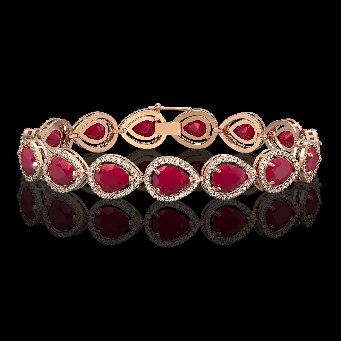 30.06 CTW Ruby & Diamond Halo Bracelet 10K Rose Gold