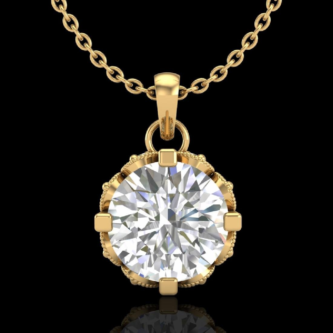 1.14 CTW VS/SI Diamond Art Deco Stud Necklace 18K
