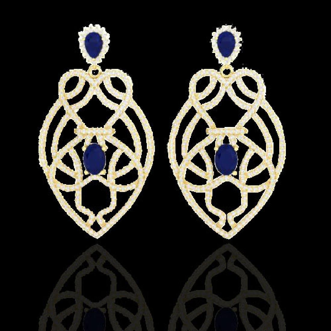 7 CTW Sapphire & Micro VS/SI Diamond Heart Earrings