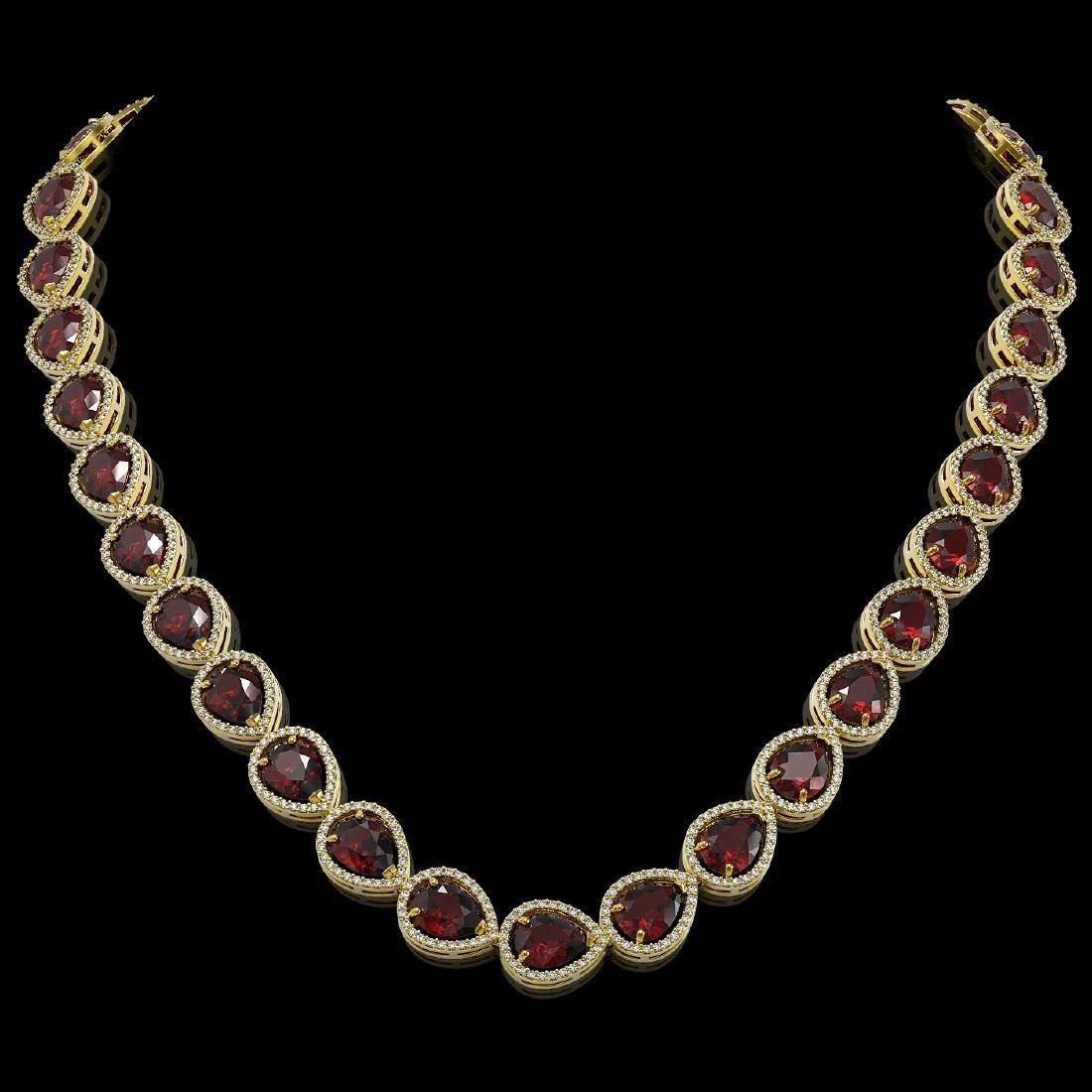 36.8 CTW Garnet & Diamond Halo Necklace 10K Yellow Gold