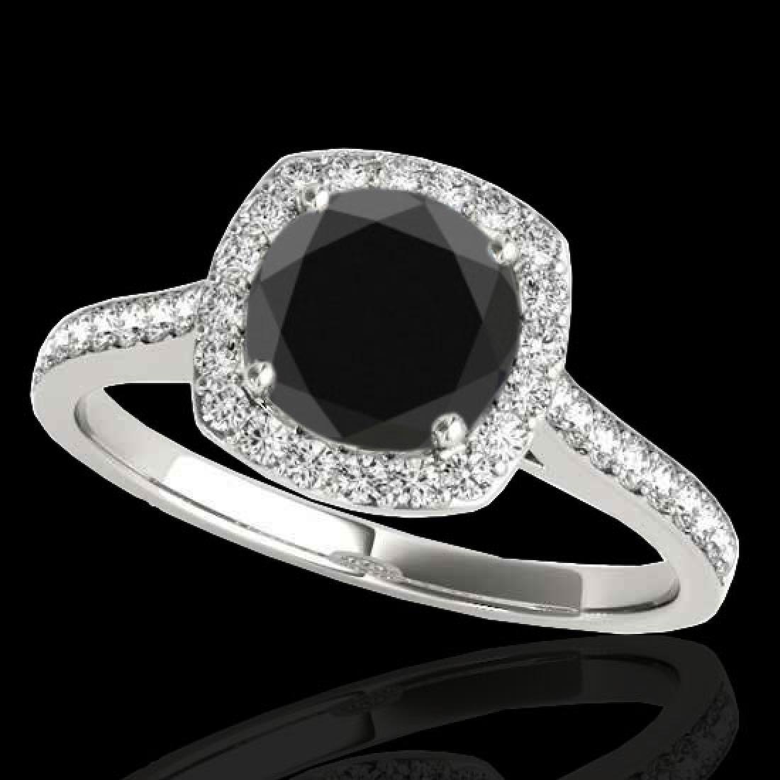 1.4 CTW Certified VS Black Diamond Solitaire Halo Ring