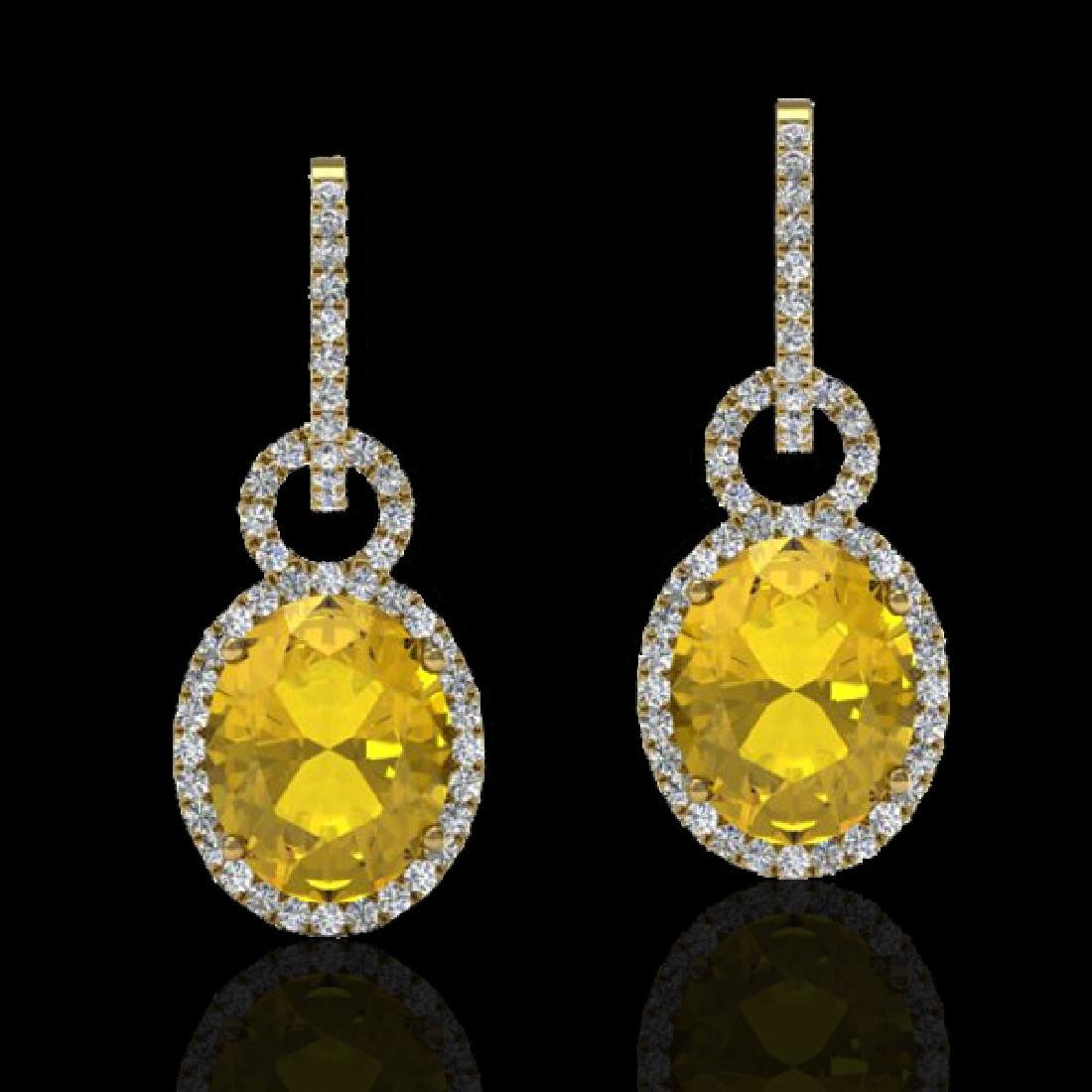 6 CTW Citrine & Micro Pave Solitaire Halo VS/SI Diamond
