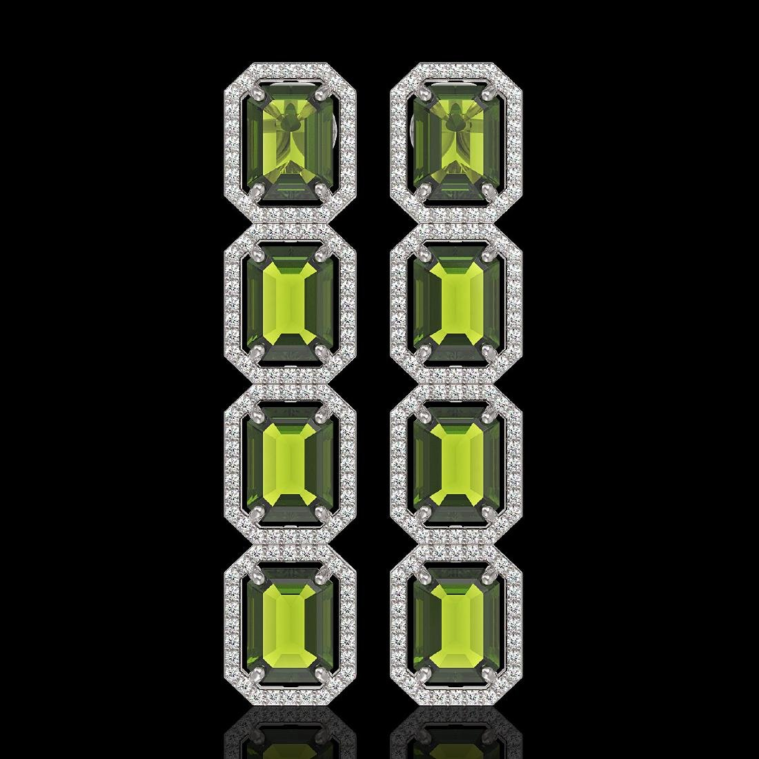 19.44 CTW Tourmaline & Diamond Halo Earrings 10K White