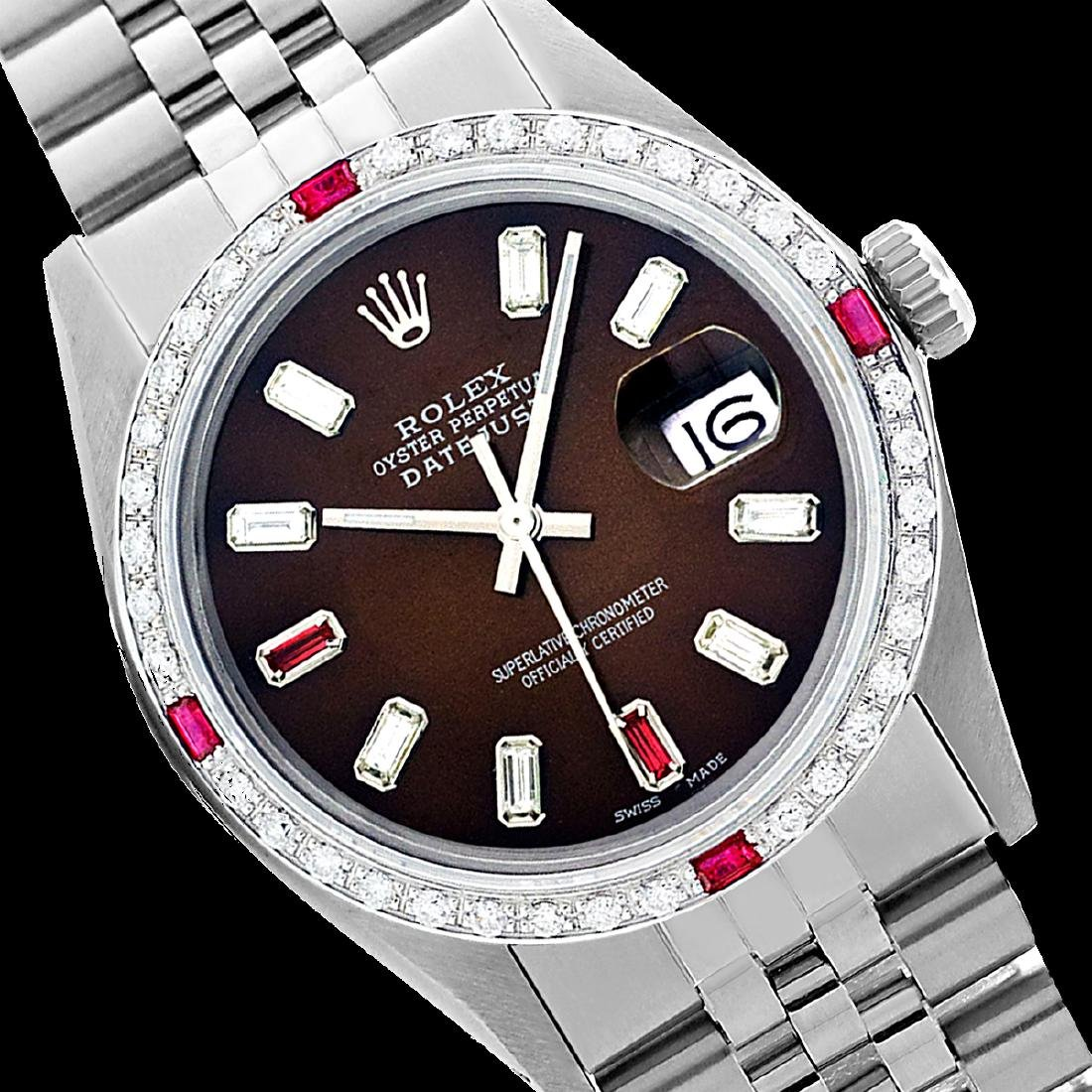 Rolex Ladies Stainless Steel, Diam/Ruby Dial &
