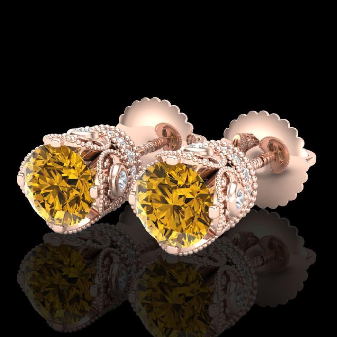1.85 CTW Intense Fancy Yellow Diamond Art Deco Stud