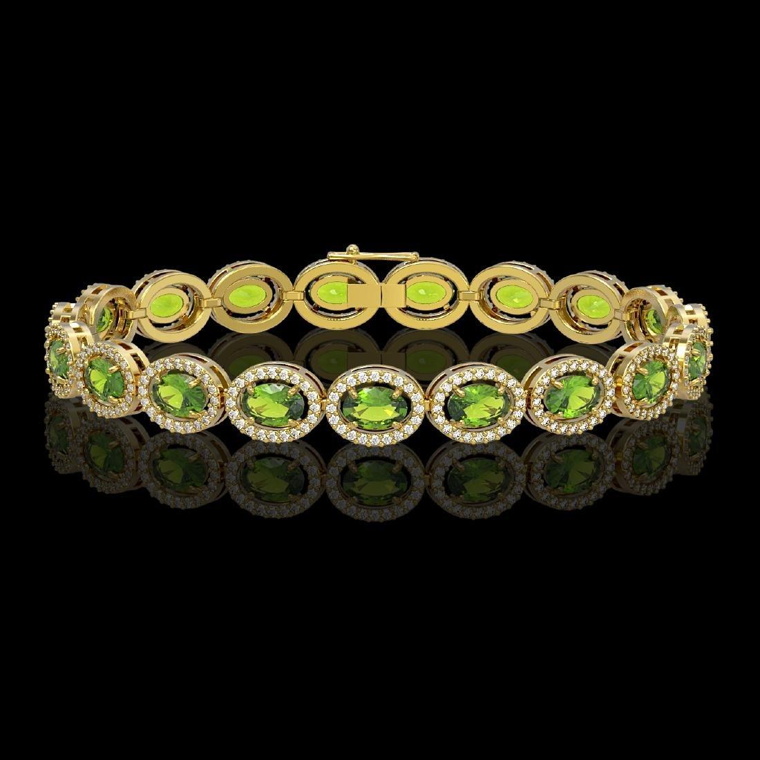 13.87 CTW Peridot & Diamond Halo Bracelet 10K Yellow