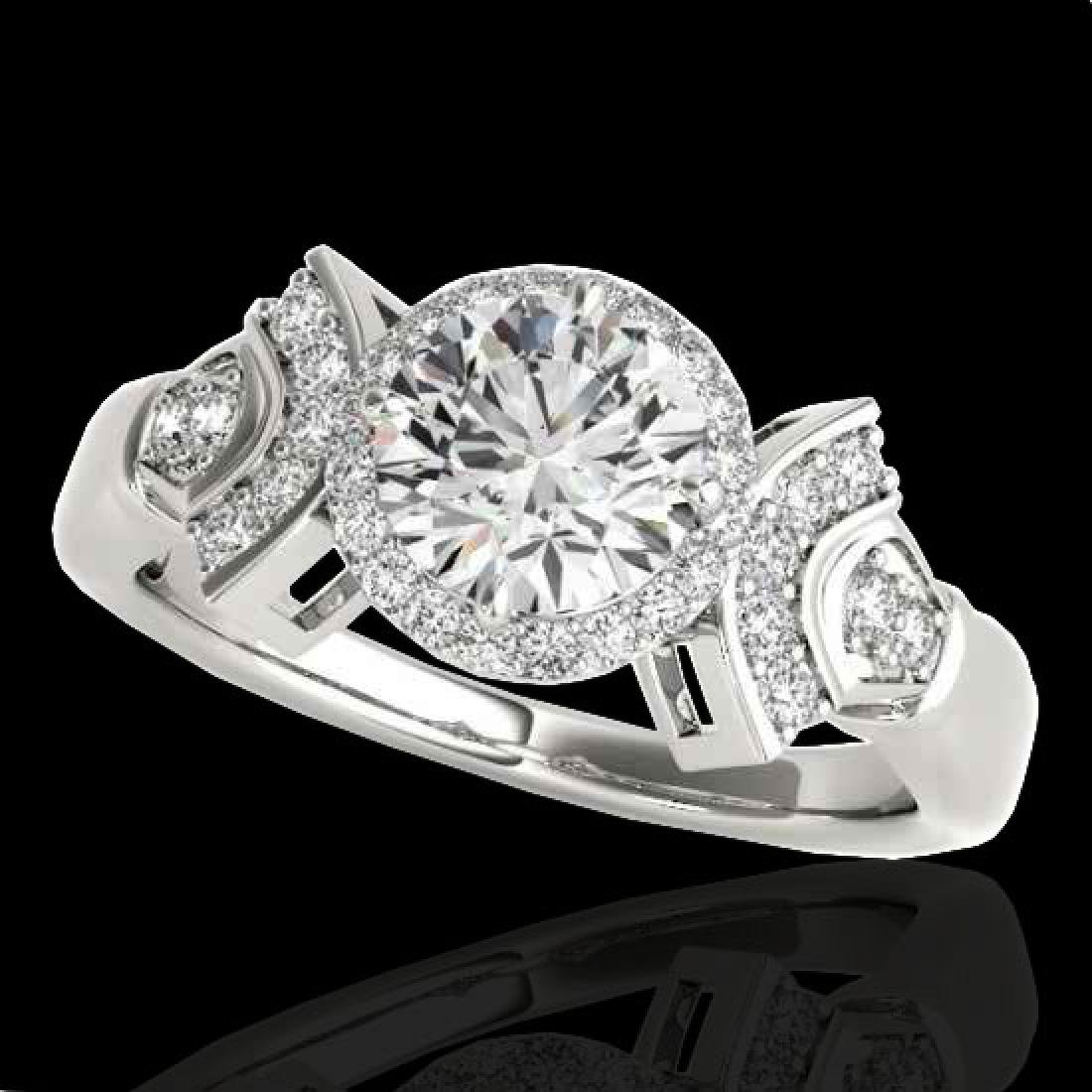1.56 CTW H-SI/I Certified Diamond Solitaire Halo Ring