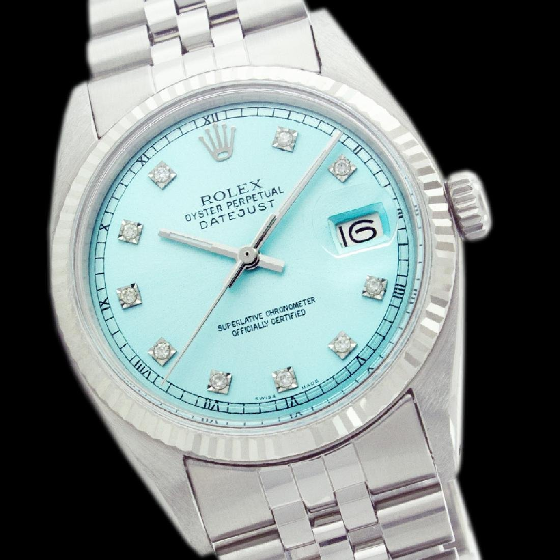 Rolex Ladies Stainless Steel, Diamond Dial with Fluted