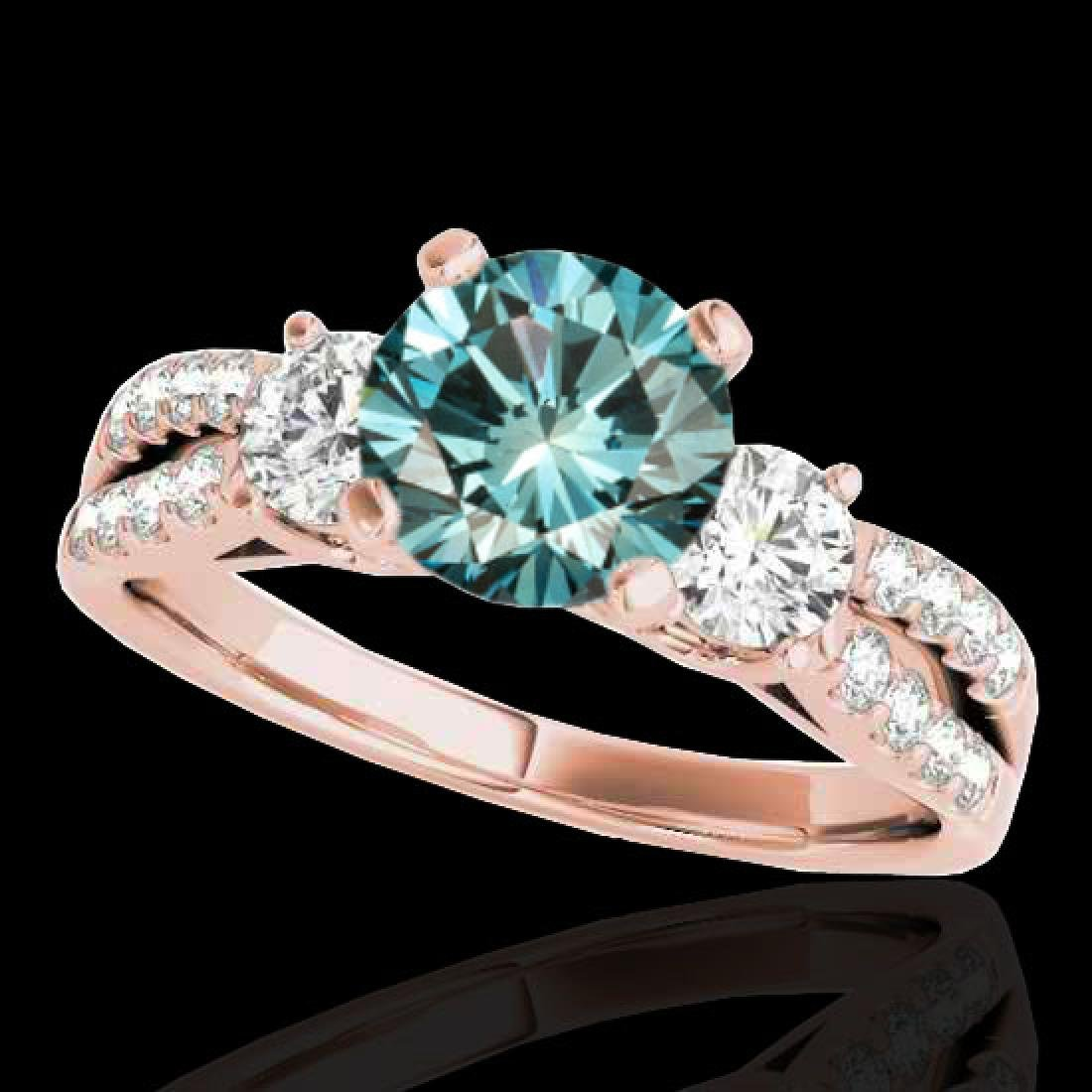 1.5 CTW SI Certified Fancy Blue Diamond 3 Stone