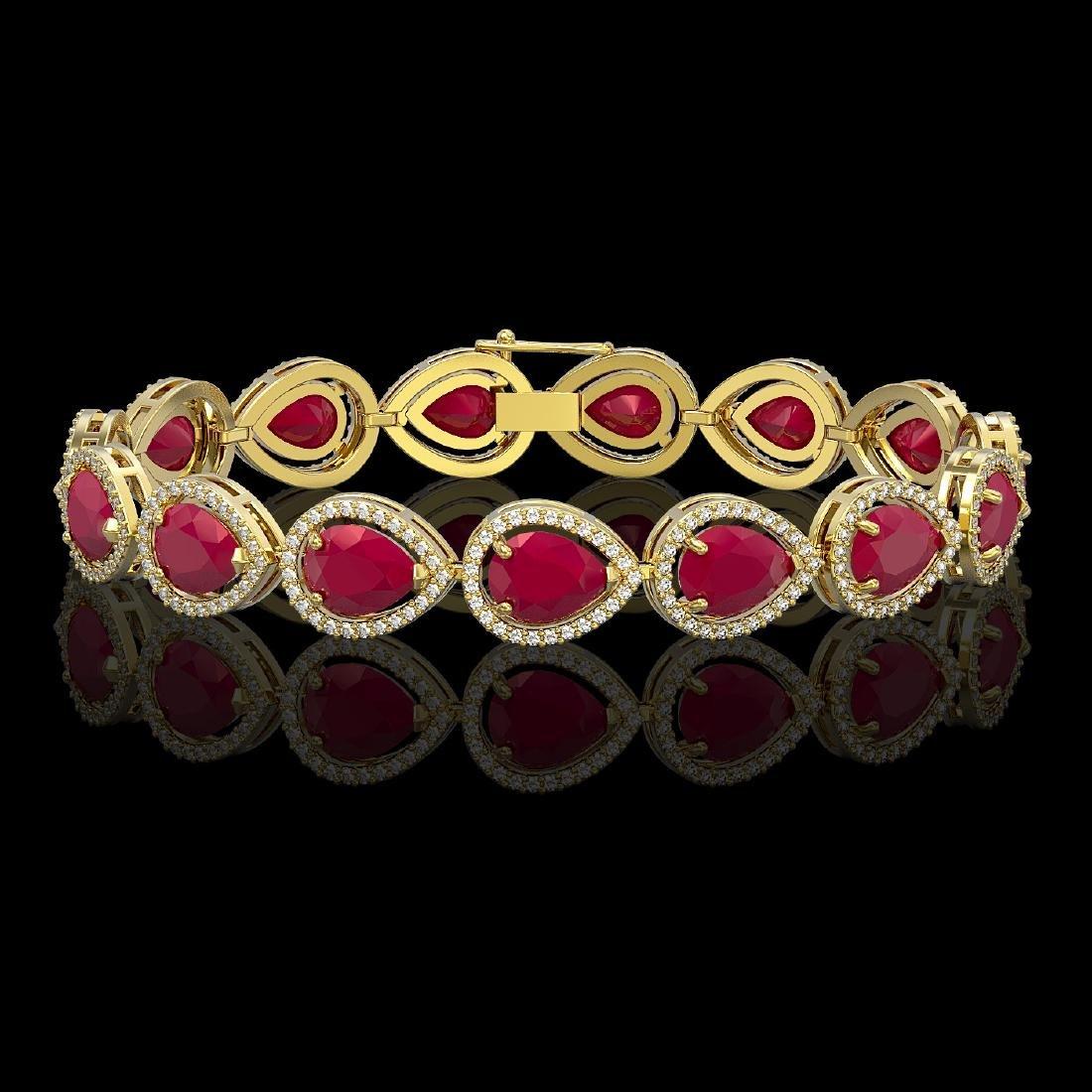 30.06 CTW Ruby & Diamond Halo Bracelet 10K Yellow Gold