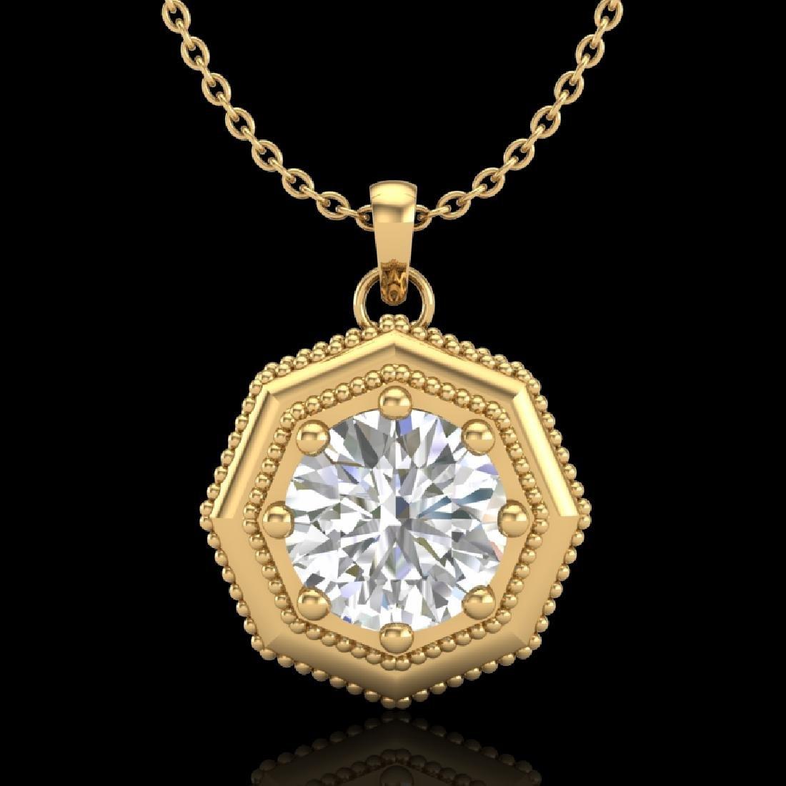 0.75 CTW VS/SI Diamond Solitaire Art Deco Necklace 18K
