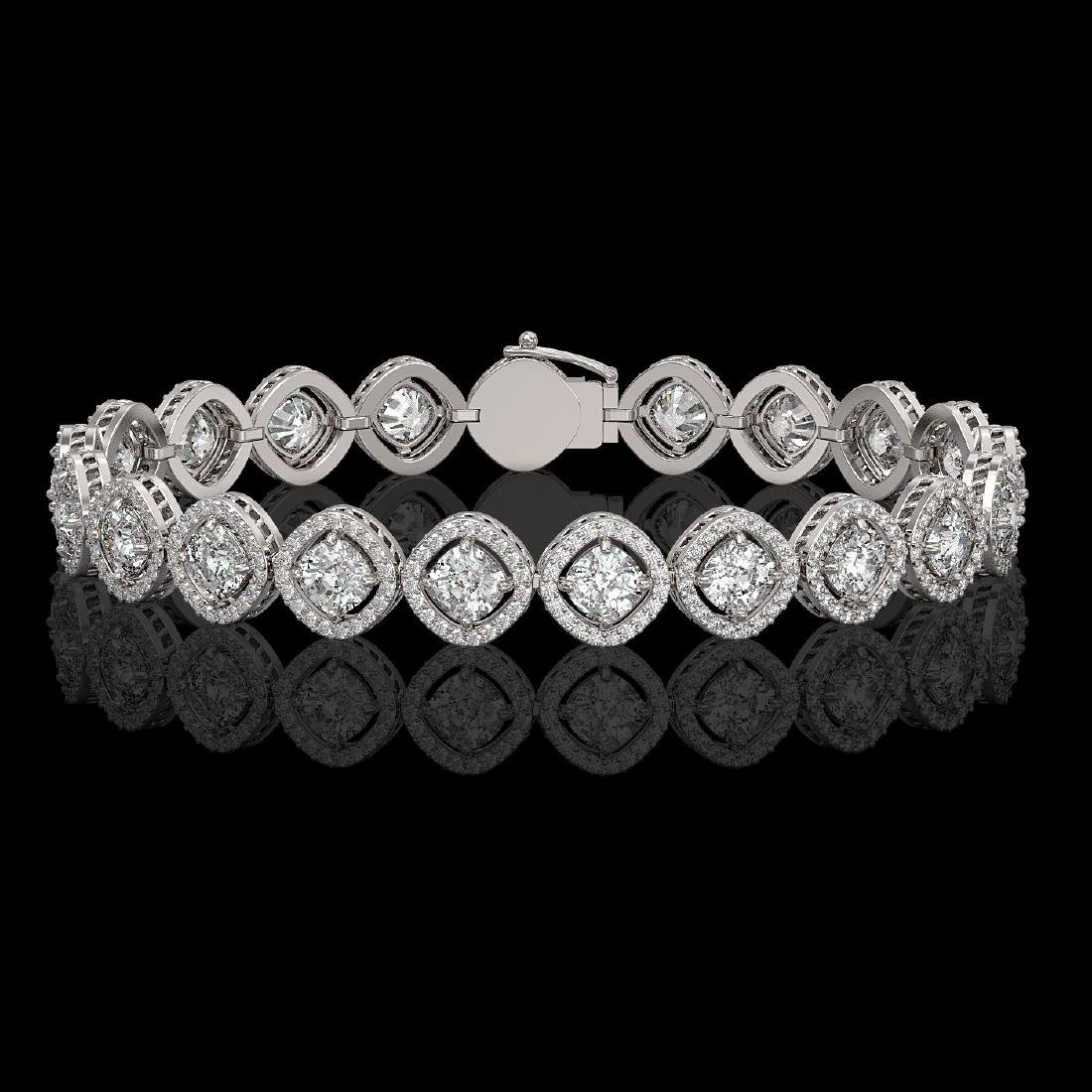 13.06 CTW Cushion Cut Diamond Designer Bracelet 18K