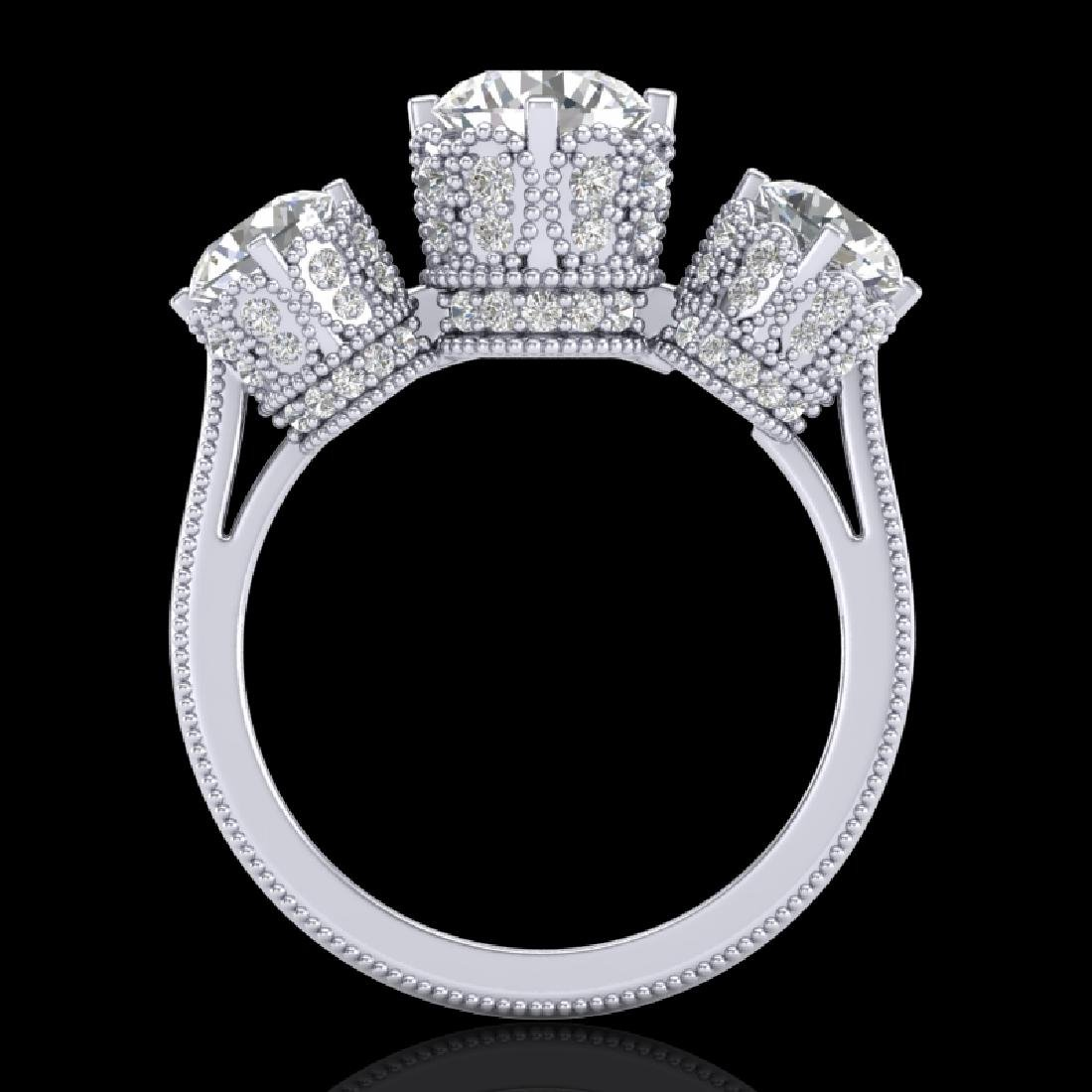 3.06 CTW VS/SI Diamond Solitaire Art Deco 3 Stone Ring