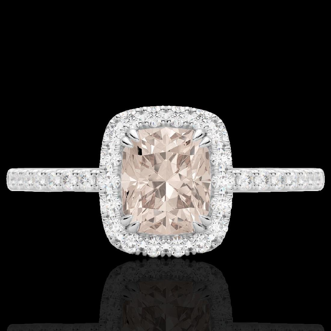 1.25 CTW Morganite & Micro Pave VS/SI Diamond Halo Ring