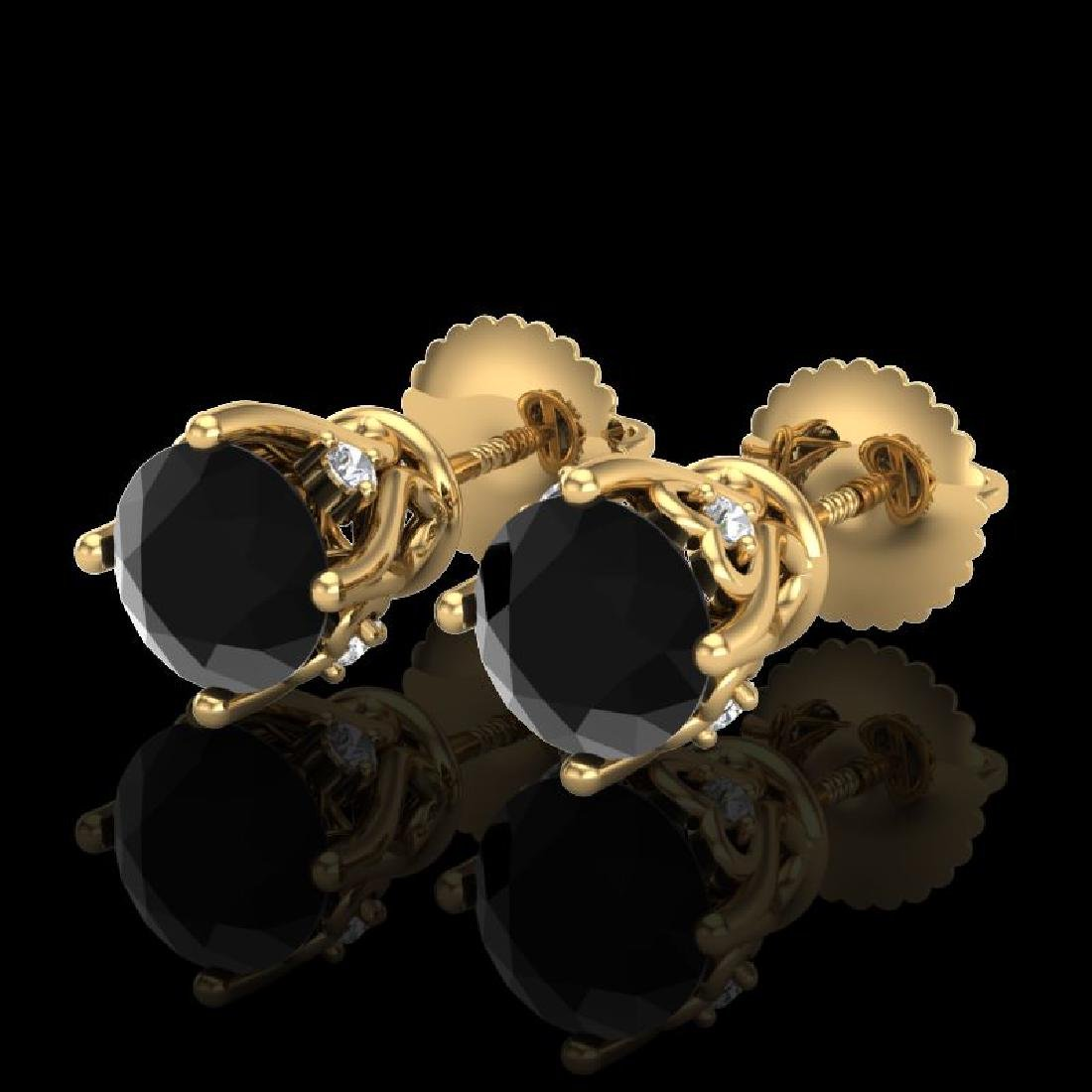 1.26 CTW Fancy Black Diamond Solitaire Art Deco Stud