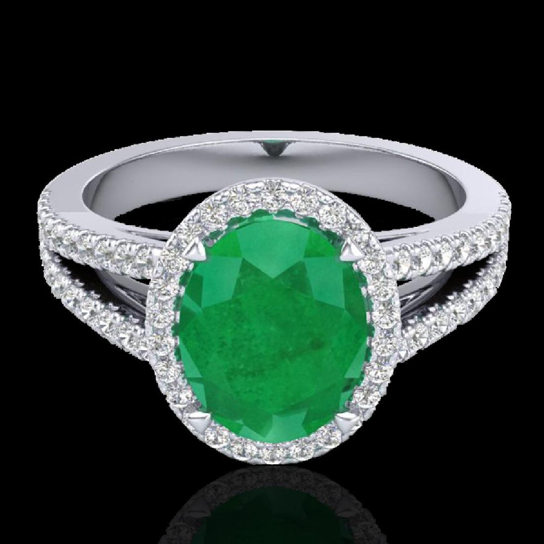 3 CTW Emerald & Micro VS/SI Diamond Halo Solitaire Ring