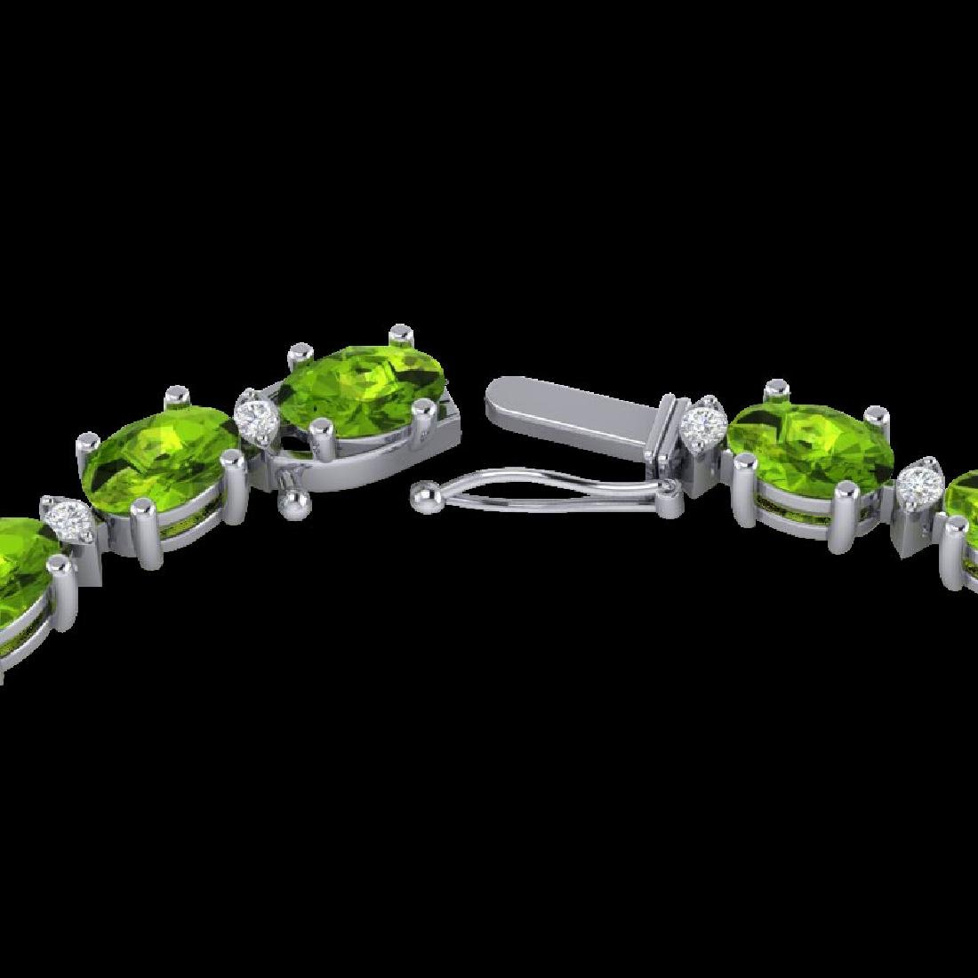 34 CTW Peridot & VS/SI Diamond Tennis Necklace White