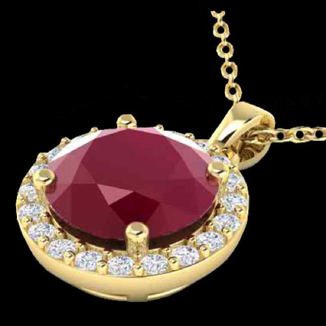 2 CTW Ruby & Halo VS/SI Diamond Micro Pave Necklace