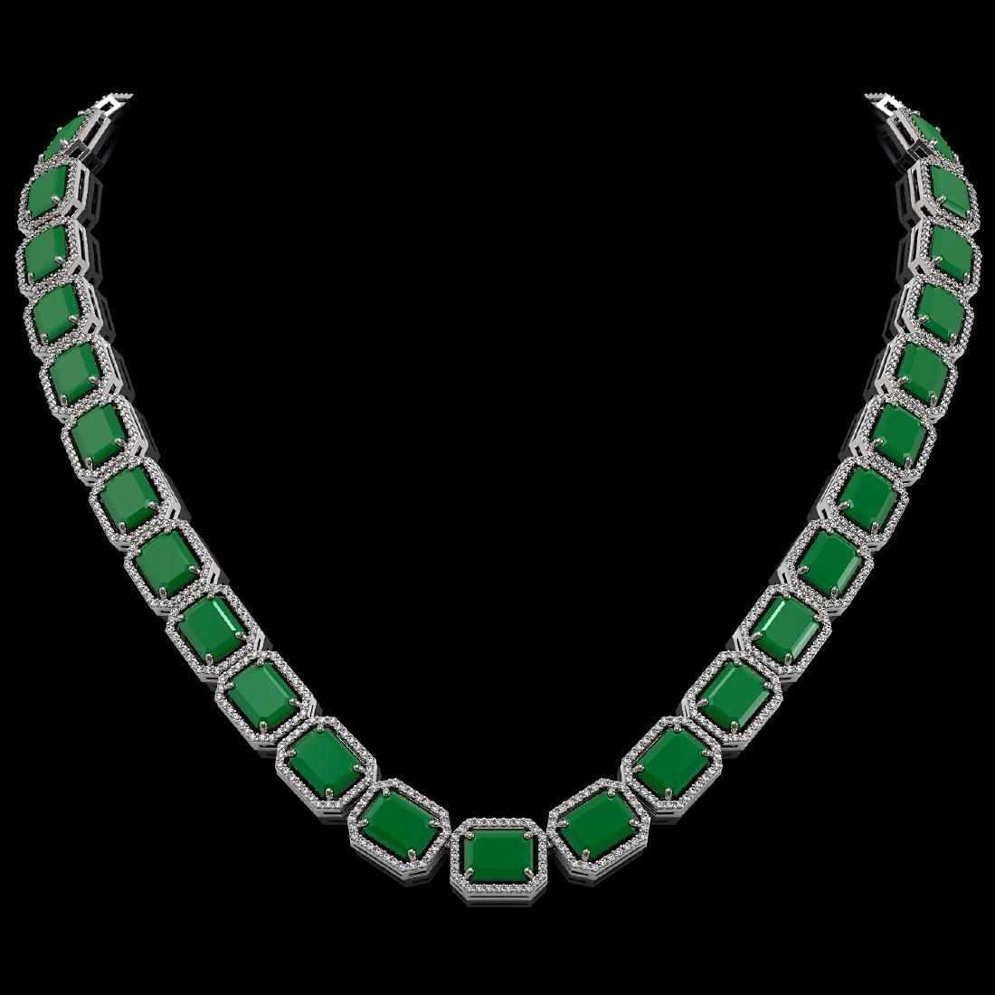 84.94 CTW Emerald & Diamond Halo Necklace 10K White