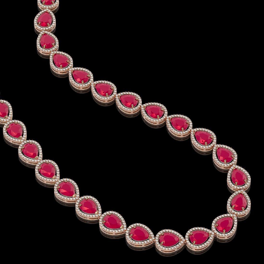 64.01 CTW Ruby & Diamond Halo Necklace 10K Rose Gold - 2