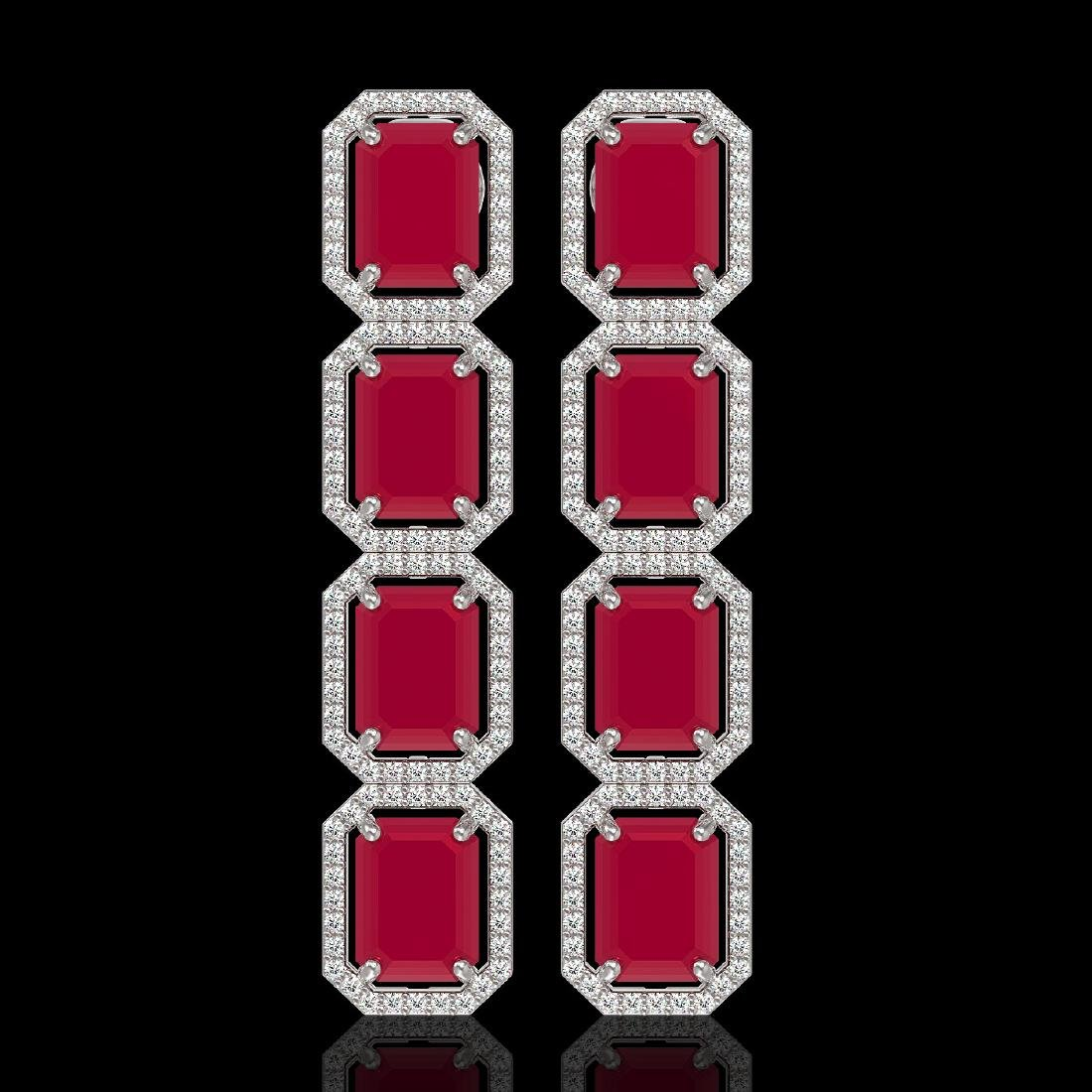 20.59 CTW Ruby & Diamond Halo Earrings 10K White Gold