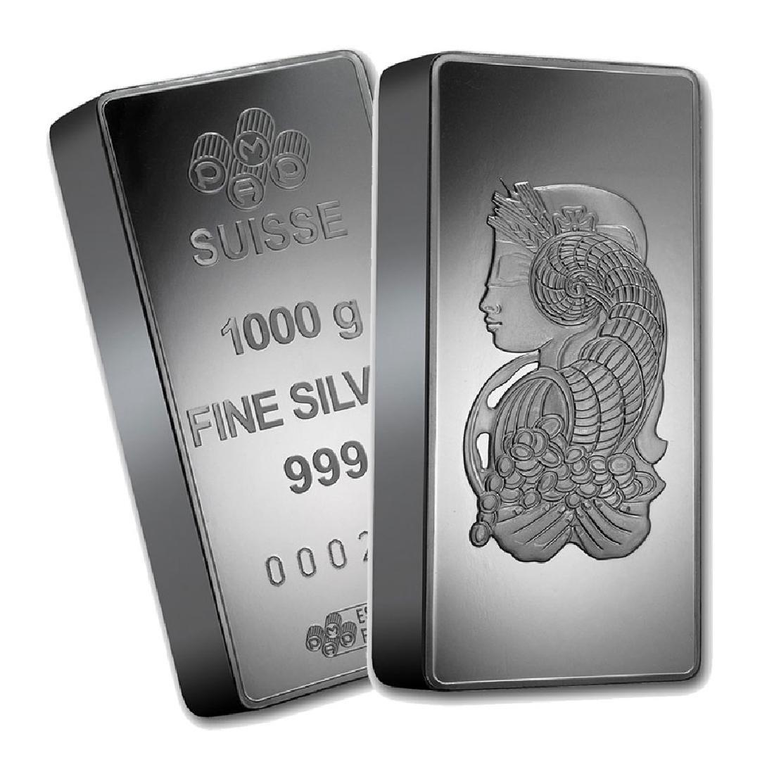 One piece 1 kilo 0.999 Fine Silver Bar PAMP Suisse