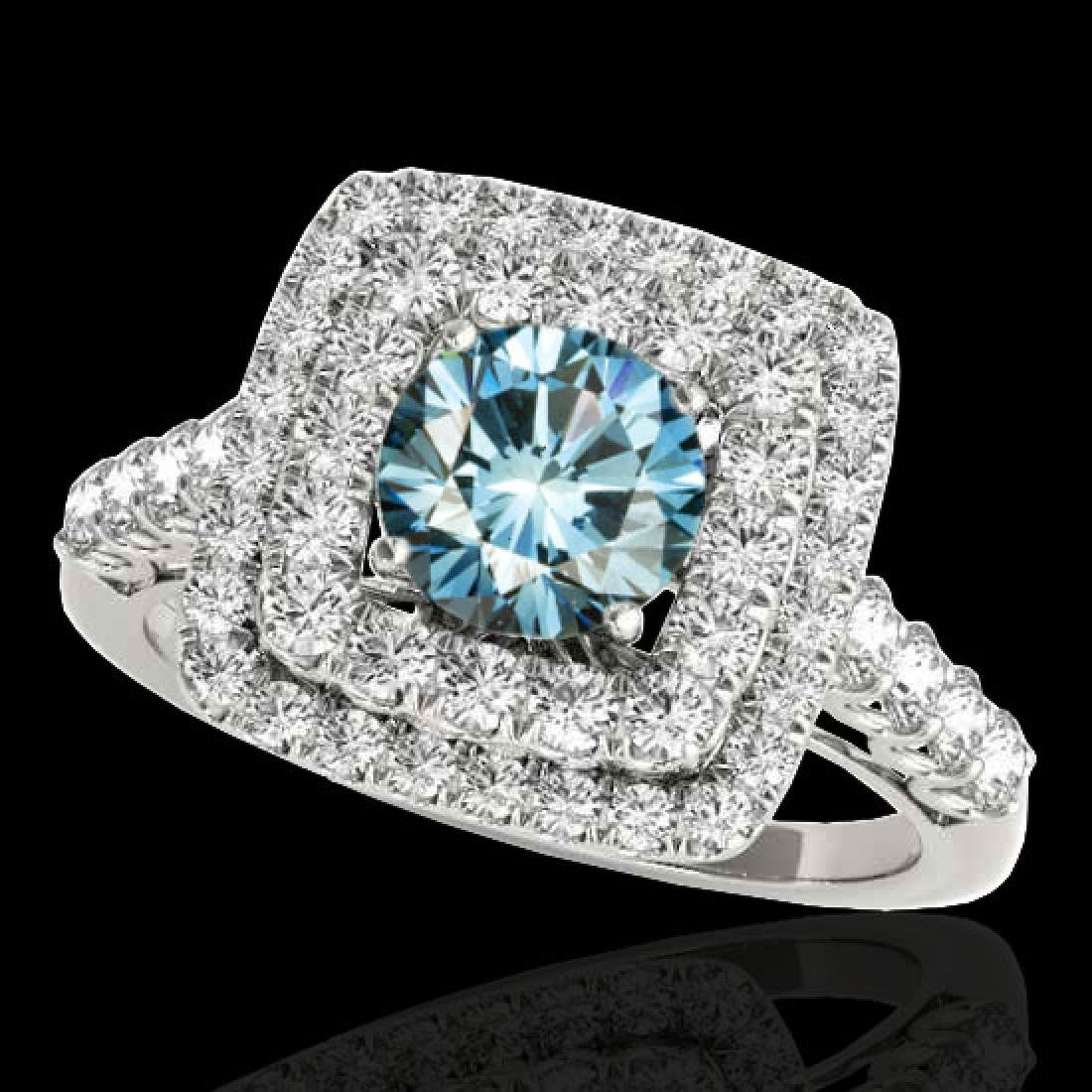 2.05 CTW SI Certified Fancy Blue Diamond Solitaire Halo