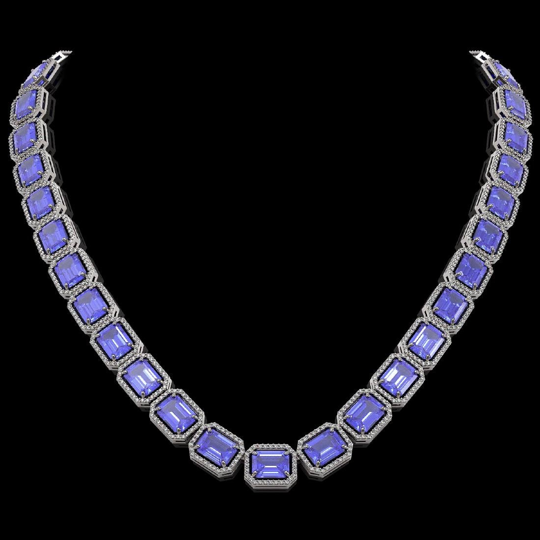 79.99 CTW Tanzanite & Diamond Halo Necklace 10K White