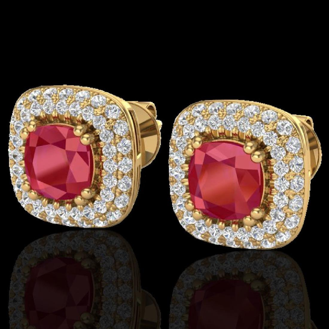 2.16 CTW Ruby & Micro VS/SI Diamond Earrings Solitaire
