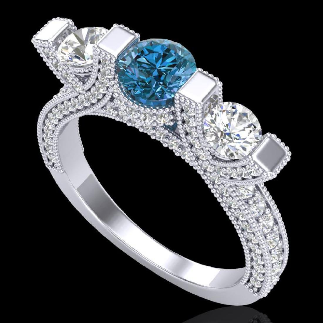 2.3 CTW Fancy Intense Blue Diamond Micro Pave 3 Stone