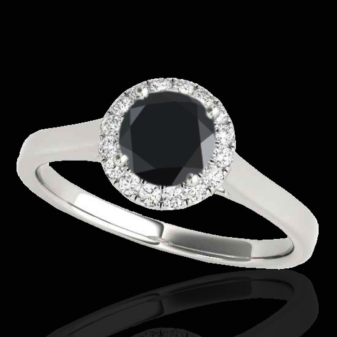1.11 CTW Certified VS Black Diamond Solitaire Halo Ring
