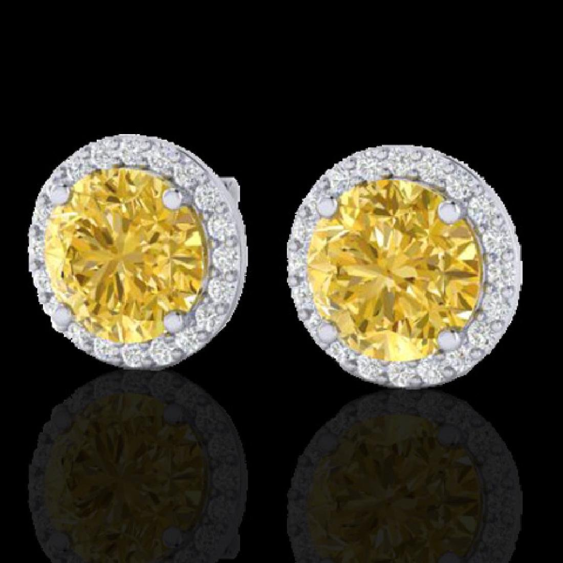 4 CTW Citrine & Halo VS/SI Diamond Micro Pave Earrings